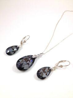 Silver Night Swarovski Crystal Pendant Set by LittleBoxOfCrystals