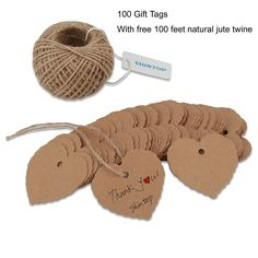 Amazon.com: Shintop 100PCS Kraft Paper Gift Tags Bonbonniere Favor Thank You Gift Tags with Free 100 Feet Natural Jute Twine Brown (Heart Shape Paper Tag)