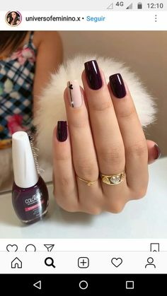 Nails sencillas vino super ideas - My best nail list Chic Nails, Trendy Nails, Gel Nails, Nail Polish, Nail Nail, Super Nails, Blue Nails, Burgundy Nails, Perfect Nails