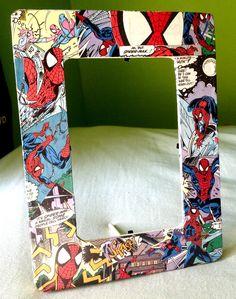 http://www.etsy.com/shop/SniktIt Spiderman, marvel, mod podge, frame, art, comic books, comics, nerd, geek, DIY.