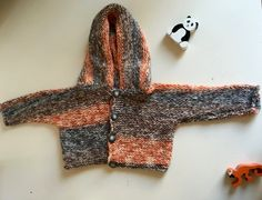Multi-colored knit cardigan with hood by ElPiOjo on Etsy