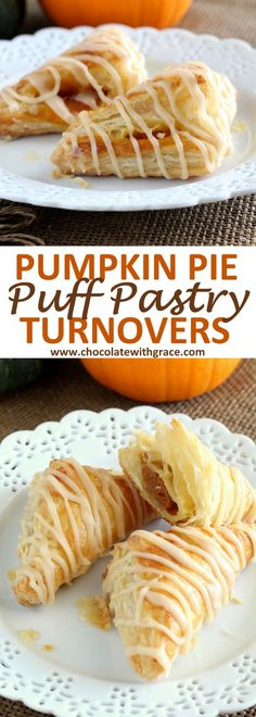 Pumpkin Puff Pastry Turnovers – Chocolate With Grace An easy Thanksgiving dessert made with puff pastry, these pumpkin puffy pastry turnovers are perfect for dessert or brunch. Simple and easy to make like a hand pie. Puff Pastry Desserts, Puff Pastry Recipes, Köstliche Desserts, Puff Pastries, Pillsbury Puff Pastry, Pastries Recipes, Italian Pastries, Plated Desserts, Easy Baking Recipes