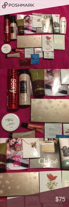20 piece Amazing Beauty Bundle!! #2 Bare Minerals 4 ready blushes, Bare Minerals Ready Luminizer, Bare Minerals Ready eyeshadows, Big Sexy Hair Spray and Play, Matrix, Oil wonders volume rose,(love this stuff!) ❤️Unwashed Bio Cleansing Conditioner: replaces shampoo, locks in natural oils and color, free of harsh sulfate said parabens(best stuff ever!) ❤️ Viva La Juicy, Chloe, Dove, Joico K-Pak Color Therapy Luster Lock ❤️ Ulta Oil Free makeup remover, Pillow plump lip gloss, Ulta Eyeshadow…