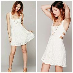 Free people Turn back time dress PRICE DROP NWOT.....never been used....,,,Sleeveless fit and flare mini in a scrolling lace fabric. Features a strappy v back. Lined skirt. Color: Ivory Size: Small. Free People Dresses