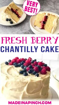 Fresh Berry Chantilly Cake is the ultimate indulgent dessert! It's made with fluffy, soft vanilla cake with a middle layer of cream and fresh berries and topped with a mouthwatering whipped mascarpone frosting. I remember the first time I tried berry Chantilly cake. A friend brought one from Whole Foods over for a gathering we were hosting. It was heavenly – and addictive! The combination of cake, sweet cream, and berries... | @made_in_a_pinch #mothersdaycake #howtomakechantillycake Sweet Desserts, Easy Desserts, Delicious Desserts, Dessert Recipes, Chantilly Cake Recipe, Berry Chantilly Cake, Cake Frosting Recipe, Frosting Recipes, Most Delicious Recipe