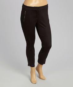 Look at this #zulilyfind! Jet Black Zipper-Pocket Skinny Pants - Plus by Modamix #zulilyfinds ($37)