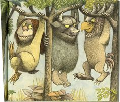 Maurice Sendak, author of wonderful children's books died today - How fitting to say his goodbye during Children's Book Week.  This illustration is from his most famous work - Where the Wild Things Are - a Caldecott Medal winner.    See more at my blog post - http://www.grandmachronicles.com/2012/05/maurice-sendak-my-favorites.html