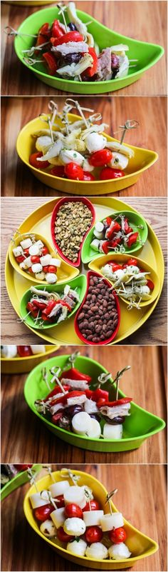 Assorted Skewered Party Appetizers - a quick and easy appetizer that you can throw together in no time for guests this holiday season!