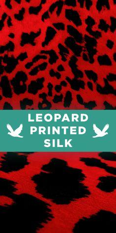 Bright Read Leopard Print Silk Chiffon #Apparel #Animal #Pattern