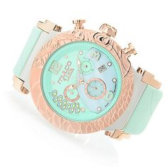 632-683 - MULCO Women's Lush Peacock Swiss Quartz Chronograph Mother-of-Pearl Silicone Strap Watch