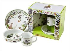 Lynn Chase Jungle Party Porcelain 3-Piece Set : JUNGLE PARTY.3 PIECE CHILDREN'S BOX SETChildren will delight in these whimsical menageries that are beautifully packaged. Jungle Party is amass with frolicking young friends of the jungle.