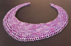 Beaded Crescent Neck Lace -- simply beautiful lace for your neck.