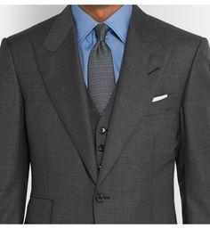 Tom Ford - Grey Slim-Fit Sharkskin Wool Three-Piece Suit