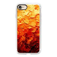 MERMAID SCALES 2 - Bold Colorful Autumn Burnt Orange Red Ombre Color... ($40) ❤ liked on Polyvore featuring accessories, tech accessories, iphone case, apple iphone case, iphone cases, iphone cover case, red iphone case and slim iphone case