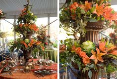 Fall Wedding Flowers - Containers, moss in square votives
