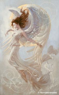 Moonrise by Tsuyoshi Nagano. Beautiful Angel and Fantasy Art! Art And Illustration, Angeles, I Believe In Angels, Ange Demon, Angel Pictures, Fairy Pictures, Fantasy Kunst, Inspiration Art, Angels In Heaven
