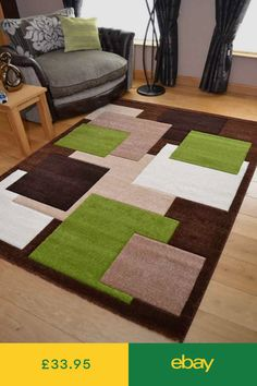 New Thick Modern Carved Brown Green Square Floor Rugs Soft Pile Long Mats Runner Lime Green Rug, Latch Hook Rugs, Cube Design, Square Rugs, 3d Texture, Brown Rug, Cool Rugs, Hand Embroidery Designs, Carpet Design