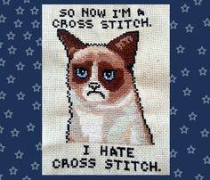 "Grumpy Cat ""So now I'm a cross stitch, I hate cross stitch"" digital art cross stitch Pattern, most popular kitten on the internet meme"