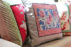 Porch pillows, made with vintage tablecloth scraps