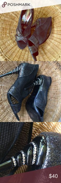 """Guess by Marciano black evening booties Guess by Marciano black open toe booties- evening wear bling on the heels! Mesh and glitter combo on boot- slip on. 4"""" heel. Worn once for fashion show. Guess by Marciano Shoes Ankle Boots & Booties"""