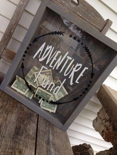 Adventure Fund-Shadow Box-Newlywed Gift-Mr and Mrs-Money Box-Donation Box-Mothers day Gift-Gift for her- Gift for him-Wedding Shadow Box
