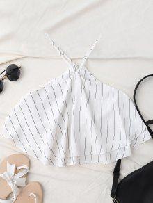 Halter Striped Crop Chiffon Top - White - White S Trendy Fashion, Fashion Outfits, Minimal Fashion, Trendy Outfits, Summer Outfits, Girl Outfits, Women's Fashion, Crop Top Hoodie, Striped Crop Top