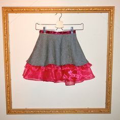 Pink and Black Twirly Skirt by restlessweaver on Etsy