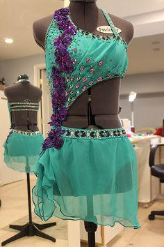 Teal chiffon with purple stones