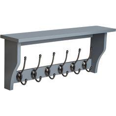 Lustig Shelf with 6 Coat Hooks Brambly Cottage Finish: Dove Grey Entry Way Design, Wall Mounted Coat Rack, Hanger Rack, Coat Rack Shelf, Elegant Interiors, Picture On Wood, Shelves, Hanger Design, Wood Design