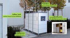 Mülltonnenverkleidung, Müllbox, Mülltonnenhaus | Mülltonnenbox, weiß, HPL
