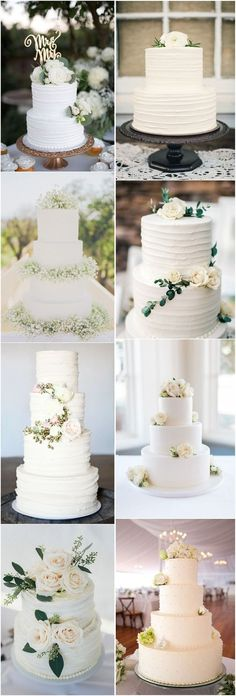 18 Simple White Wedding Cakes Ideas for Your 2018 Wedding #cakes #weddings #weddingcakes #food #weddingideas