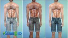 Denim shorts for males by David Veiga at The Sims 4 ID via Sims 4 Updates