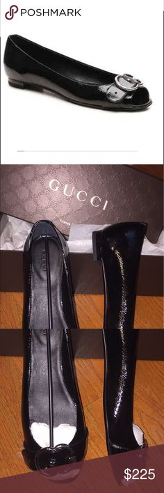 Gorgeous Gucci patent leather flats! Brand new with box, authentic Gucci flats. Black patent leather with silver G's. Leather sole. Classic shoes! Gucci Shoes Flats & Loafers