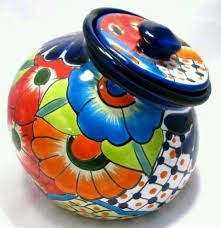 Talavera Pottery Canister - Cookie Jar Hand Painted Measures X Because items are handmade, tops may sit uneven. Mexican Home Decor, Mexican Folk Art, Pottery Painting, Ceramic Painting, Paint Cookies, Talavera Pottery, Paint Your Own Pottery, Southwest Decor, Mexican Designs