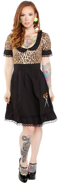 PAPERDOLL SCISSORS LEOPARD DRINK DRESS <3 <3 <3