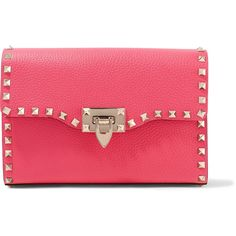 Valentino Rockstud textured-leather shoulder bag (4,095 PEN) ❤ liked on Polyvore featuring bags, handbags, shoulder bags, red handbags, pink crossbody, pink handbags, pink shoulder bag and valentino shoulder bag