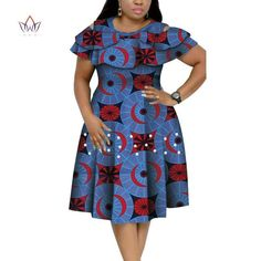 Image of New Bazin Riche African Ruffles Collar Dresses for Women Dashiki Print Pearls Dresses Vestidos Women African Clothing African Dresses Plus Size, Best African Dresses, Latest African Fashion Dresses, African Print Dresses, African Print Fashion, African Attire, African Fashion Traditional, Ankara Dress Styles, Clothing Accessories