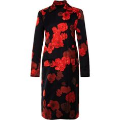 Giambattista Valli Long Floral-Print Satin Coat (¥75,535) ❤ liked on Polyvore featuring outerwear, coats, dresses, jackets, black coat, black satin coat, long slip, long sleeve coat y floral print coat