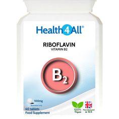 Health4All Vitamin B2 Riboflavin 100mg Tablets | Migraine attacks | Headache - https://www.trolleytrends.com/?p=610851