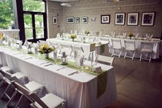 Table runners and lanterns