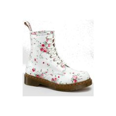 Dr Martens 1460 W Boot WHITE PORTLAND ROSE - Doc Martens Boots and Shoes (7,670 PHP) found on Polyvore