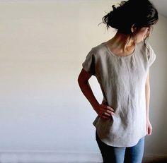 Linen Tunic Top, Linen Clothing, Flax Blouse, Womens Top, Linen Shirt, Scoop Hem, Woven Tee, Tank, Spring Shirt