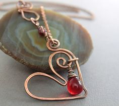 Heart copper necklace with red Czech glass teardrop on chain