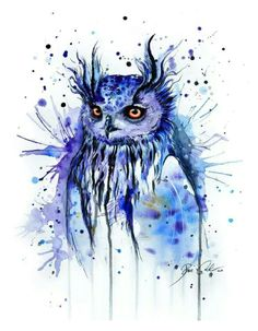 gorgeous water color owl