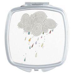 Colorful Rain Cloud Square Compact Mirror