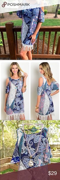 Lavender and blue paisley fringe detail dress! LAST ONE!  Stunning print with cold shoulders short sleeves and vibrant colors - the piece finishes with white fringe hemline! Dresses
