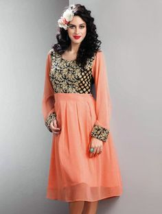 Bring an alluring glow to your face with this new stylish peach & black readymade designer kurti.
