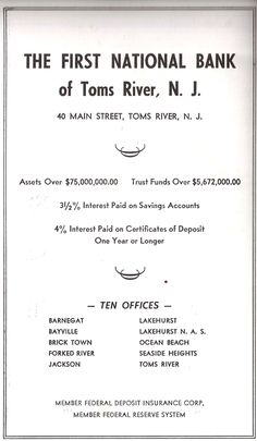 First National Bank of Toms River NJ Seaside Heights Branch Advertisement Early 1960s
