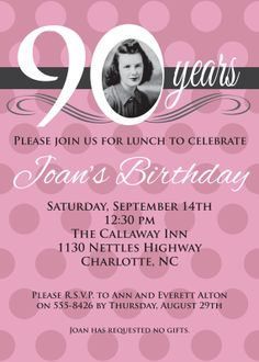 Adult Birthday Invitation Pink Rose 90 80 70 60 by graceandglee