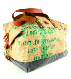 Oaxaca Coffee Sack Duffel by Bare on Scoutmob Shoppe. This Oaxaca duffel bag is handcrafted from a recycled brown burlap coffee sack.